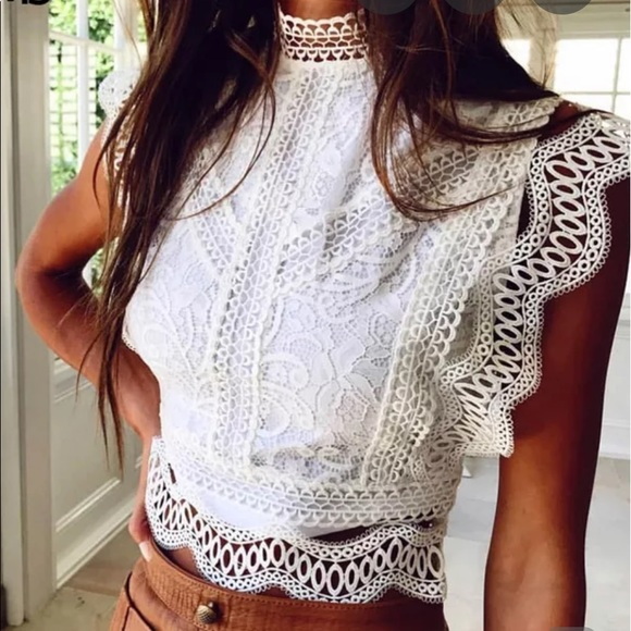facing the sun Tops - Only 1 Left▪️Lilly Boho Lace top NWT white